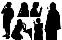 Mensen die sigaret en pijp roken Stock Afbeelding