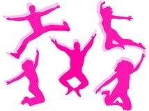 Mensen die silhouet springen Stock Fotografie