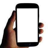 Mensen die smarthphone in hand houden stock foto's