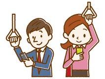 Mensen die smartphones tijdens het omzetten werken stock illustratie