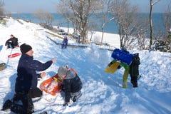 Mensen die in sneeuw spelen Stock Afbeeldingen
