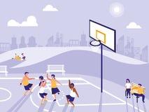 Mensen die sport op basketbalgebied uitoefenen vector illustratie