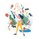 Mensen die sportenactiviteiten of oefening en gezond voedsel uitvoeren Concept gezonde gewoonten, actieve levensstijl, geschikthe royalty-vrije illustratie