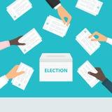 Mensen die stembriefjes in hun handen houden en hen zetten in stembussen Verkiezingen en stemming stock illustratie