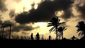 Mensen die strandvoetbal spelen bij zonsondergang onder de palm stock video