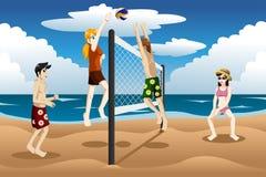 Mensen die strandvolleyball spelen royalty-vrije illustratie