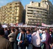Mensen die in tahrirvierkant protesteren Royalty-vrije Stock Foto's