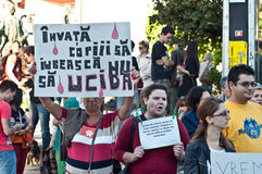 Mensen die tegen de euthanasie van de straathond, in Boekarest protesteren Royalty-vrije Stock Fotografie