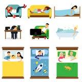 Mensen die thuis slapen, bij het werkreeks, mannen en vrouwen die in bed, bank met jonge geitjes, huisdieren, samen beeldverhaalv Stock Afbeeldingen
