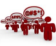 Mensen die Toespraakbellen Boze Menigte zweren Stock Afbeelding