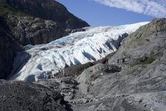 Mensen die Uitgangsgletsjer Seward Alaska bezoeken stock afbeelding