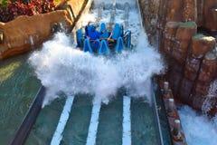 Mensen die van de Dalingen van de de ritoneindigheid van de rivieraantrekkelijkheid in Seaworld Marine Theme Park 1 genieten stock foto's