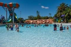 Mensen die van hete dag in blauwe waterpool genieten in Aquatica op Internationaal Aandrijvingsgebied 60 royalty-vrije stock fotografie