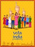 Mensen die van verschillende godsdienst stemmingsvinger voor Algemene verkiezingen van India tonen stock illustratie