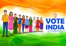 Mensen die van verschillende godsdienst stemmingsvinger voor Algemene verkiezingen van India tonen vector illustratie