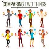 Mensen die A vergelijken met B-Vector Evenwicht van Mening en Emoties Mengelingsras Cliëntkeus Vergelijk Voorwerpen, Manieren, Id Stock Afbeeldingen