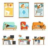Mensen die in Verschillende Posities thuis en bij Werk, Vermoeide Karakters slapen die aan Slaapreeks het krijgen Illustraties royalty-vrije illustratie