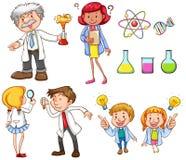 Mensen die verschillende wetenschapsactiviteiten doen royalty-vrije illustratie