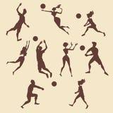 Mensen die volleyball spelen royalty-vrije illustratie