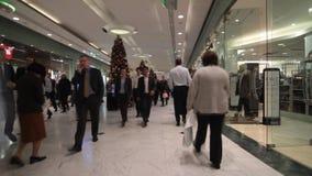 Mensen die voor Kerstmis in bezige wandelgalerij winkelen stock footage