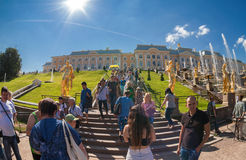 Mensen die vooraan een paleis van de hoofdgebouwen lopen in Peterh Royalty-vrije Stock Afbeelding