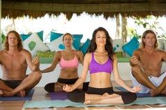 Mensen die yoga uitoefenen stock foto