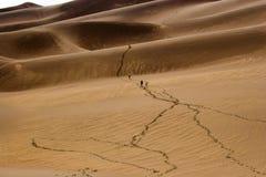 Mensen die in zandduinen lopen stock fotografie