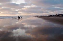 Mensen die zich in de ondiepe branding op een strand bij zonsondergang naast de Vreedzame oceaan bevinden stock fotografie