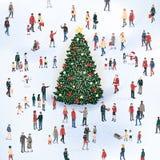 Mensen die zich rond de Cristmas-boom verzamelen stock illustratie