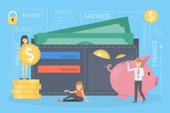 Mensen die zich rond grote portefeuille bevinden Idee van persoonlijke financiën royalty-vrije illustratie