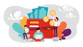 Mensen die zich rond grote portefeuille bevinden Idee van persoonlijke financiën vector illustratie