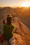 Mensen die zonsondergang wachten bij valle DE La luna Stock Fotografie