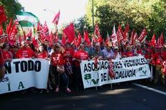Mensen in een protest 19 maart Royalty-vrije Stock Afbeeldingen