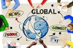 Mensen in een Vergadering en Globale Netwerkconcepten Royalty-vrije Stock Fotografie