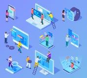 Mensen en app interfaces isometrisch concept Gebruikers en ontwikkelaars het werk met mobiele telefoon en computer ui 3d vector stock illustratie