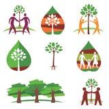Mensen en bomen kleurrijke pictogrammen Royalty-vrije Stock Afbeeldingen