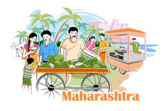 Mensen en Cultuur van Maharastra, India stock illustratie