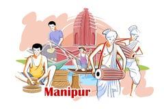 Mensen en Cultuur van Manipur, India vector illustratie