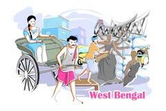Mensen en Cultuur van West-Bengalen, India vector illustratie