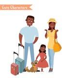 Mensen en familie die op vakantie reizen Royalty-vrije Stock Afbeeldingen