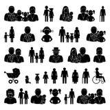 Mensen en familie geplaatste pictogrammen Royalty-vrije Stock Afbeelding