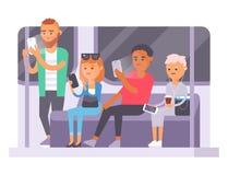 Mensen en gadgetsconcept Bezige communicatie van de persoons slimme telefoon sociale levensstijl Het online sociale netwerk moder royalty-vrije illustratie