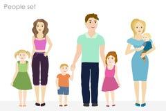 Mensen en kinderenvector bij de eenvoudige stijl Stock Foto's