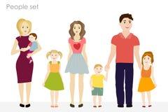 Mensen en kinderenvector bij de eenvoudige stijl Kleurrijke kleren Stock Afbeeldingen