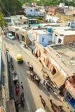 Mensen en koeien op de straat van Agra, India Stock Foto's
