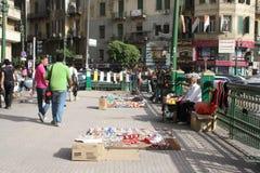 Mensen en verkopers bij tahrirvierkant, Kaïro, Egypte Royalty-vrije Stock Afbeeldingen