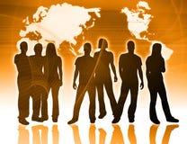 Mensen en wereldkaart Royalty-vrije Stock Foto
