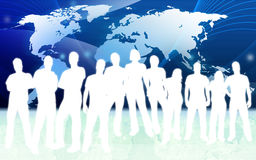 Mensen en wereldkaart Royalty-vrije Stock Afbeelding