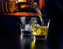 Mensen gietende glazen whisky met ijsblokjes voor de open haard Stock Foto