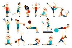 Mensen in gymnastiekreeks, trainingman en vrouw die vectorillustraties op een witte achtergrond uitoefenen stock illustratie